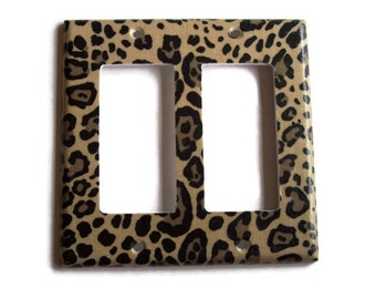 Cheetah Double Rocker / GFI Switchplate, Switch Plate wall decor