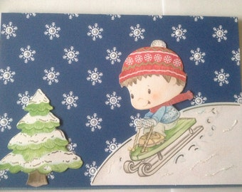 Boy, sleigh victorian card, Christmas card, glitter card, merry Christmas card, 3 D card, decoupage card, snowflake