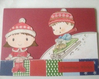 Boy, girl card, Christmas card, glitter card, merry Christmas card, 3 D card, decoupage card