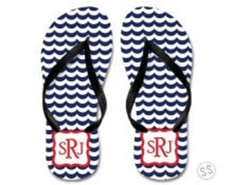 Personalized monogram flip flops, bridal party gift, hostess gift, kids and adult flip flops