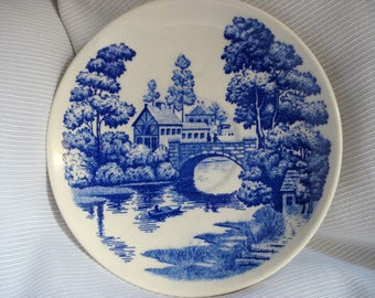 Blue Transferware Saucer Plate Nasco Lakeview Hand Painted Japan Blue and White Blue Willow Style Transferware Saucer
