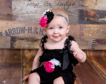 Black petti romper, lace romper, lace petti romper, first birthday outfit, Photo Prop