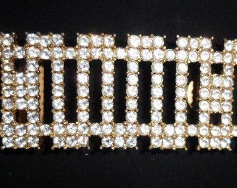 DECO REVIVAL 1970s Jeweled Gold & RHINESTONE Estate Belt Buckle..Edwardian Nouveau Disco Era Jewelry Burlesque Pin Up