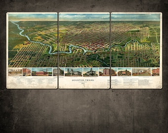 "Vintage Map of Houston METAL Triptych 48x24"" FREE SHIPPING (color version)"