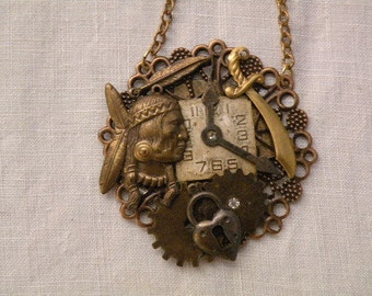 Steam Punk - aged brass pendant - Indian head, clocks and gears