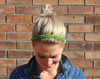 Green Fabric Headband Two Strand Crocheted Hair Accessory