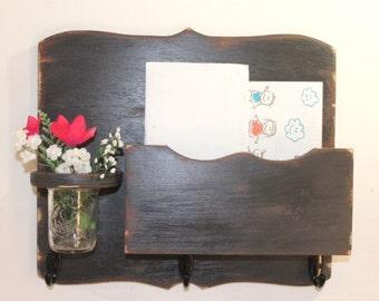 Large Mail Organizer, shabby chic, floral vase, mail holder, key hooks, mail holder, distressed, vintage, home decor,painted Vintage Black