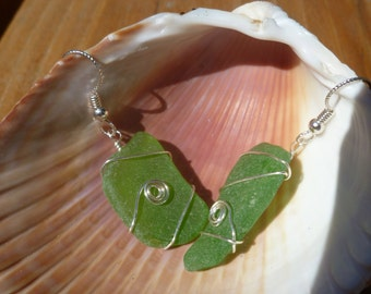 Green Authentic Beach Glass Earrings