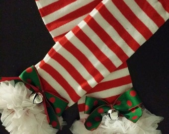 Candy Cane Leg Warmers with Jingle Bells and Bows Infant to 6yrs