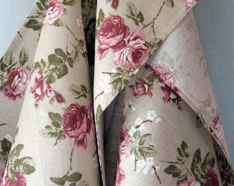 Linen Cotton Kitchen Towels Rose Flowers Tea Towels