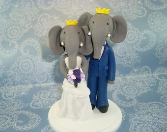 Personalized Handmade Elephant Wedding Cake Topper