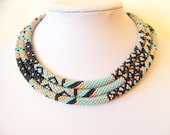 Long Beaded Crochet Rope Necklace - Beadwork - Seed beads jewelry - Elegant - Geometric  - Patchwork - sky blue, black, gold