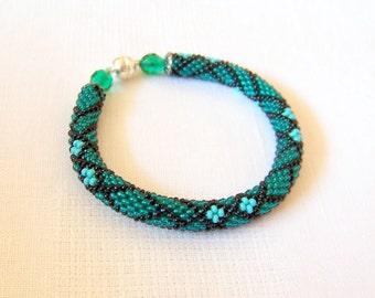 Bead Crochet Bracelet - Beadwork - Round Chunky Bangle - Geometric Design Bracelet - emerald green, turquoise and black
