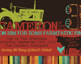 Farm/Tractor/Rancher Themed Birthday Invitation- Birthday, Digital, John Deere