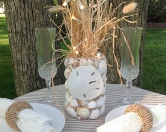 Sand dollar Decor, Seashell Centerpiece, Coastal Decor, Beach Themed Gifts