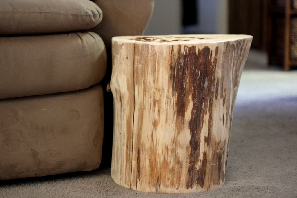 tree stump table reclaimed wood furniture by bessiescreations