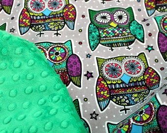 Owl Baby Blanket-Choose Your Own Minky-Minky Blanket-BabyGirl-Toddler Blanket