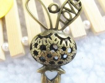 2pcs 21x44mm Antique Bronze Lovely 3D Rabbit Charm Pendant Jewelry Supplies A23633-12C