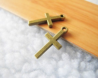 50pcs 9x19mm Antique Bronze Lovely Cross Charms Pendant Jewelry Supplies A9081-13A