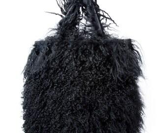 Black Mongolian Sheep Wool Bag