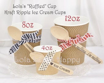 Ice Cream Kraft RIPPLE cups YOU PICK your size Paper Beverage/ Ice Cream Cups & Wooden Spoons Ruffled Kraft cup Wooden Spoon Stamped Words