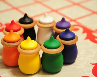 RAINBOW Wood Toy - Match-Up Acorn Pots- Waldorf Montessori Educational Toy