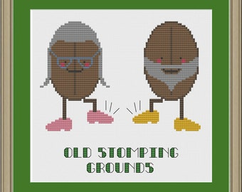 Old stomping grounds: funny coffee bean cross-stitch pattern