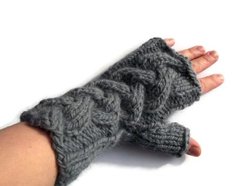 hand knitted mittens warm cozy cable