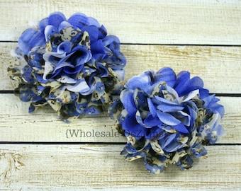 "Blue Floral Chiffon Lotus Flower - 3"" - 3.5"" - DIY Flowers"