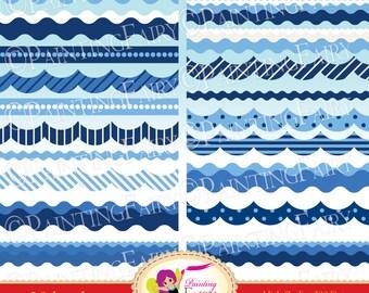 INSTANT DOWNLOAD Digital Borders ClipArt Nautical Ocean Sea colors waves Clipart Embellishments Polka dots Elements DIY images pf00029-4