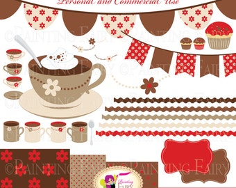 Fancy hot creamy chocolate party clipart Cute teacups mugs Brown Red Cream Burlap colors cupcake bunting digital clip art & Papers pf00070-1