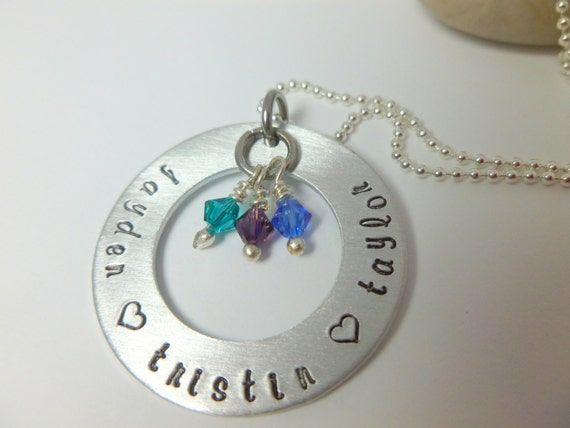 Personalized Hand Stamped Necklace, Mommy necklace, grandmas necklace, Hand Stamped Washer Necklace with Swarovski Birthstone Charms