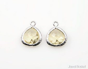 Jonquil Color Glass and Silver Framed Pendant - 2pcs Jonquil Glass Pendant, Jewelry Pendant / 10.5mm x 14mm / SJQS040-P