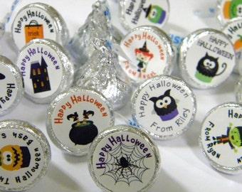 Personalized Halloween Hershey Kiss Stickers  - Halloween Party Hershey Kiss Sticker Favors - Halloween Hershey Kisses - Halloween Favors