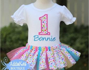 Personalized Confetti Polka Dot Birthday Fabric Tutu Outfit