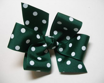 Spruce Hunter Evergreen Green White Polka Dot Hair Bow Simple Traditional Basic Classic Style Toddler Girl