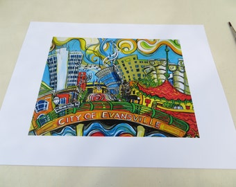 "City of Evansville : View from the Ohio River - An 11"" x 14"" Signed Print"