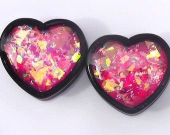 Pink Confetti Heart Plugs - 7/16,1/2,9/16,5/8,11/16,3/4,7/8,1""