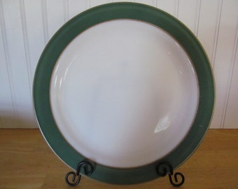 Vintage Pyrex Platter Green and Gold Rim Milk Glass