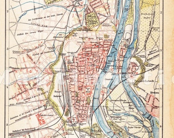 1898 Magdeburg, Prussian Province of Saxony at the end of the 19th Century Antique Map