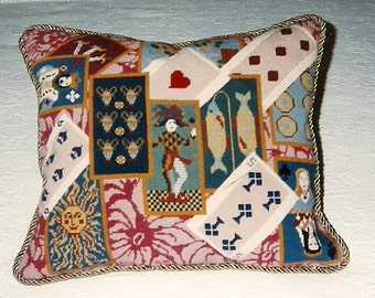 Card Players Needlepoint Pillow Canvas