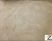 """Solid Shaggy Minky Fabric - OFF WHITE  - Sold By The Yard 58""""/60"""" Width"""