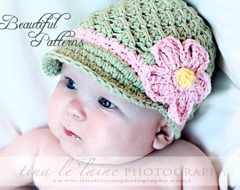 Crochet Hat Pattern Baby Crochet Hat Daisy Visor Beanie PDF 150 Newborn to Adult  Photo Prop Instant Download