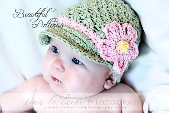 Daisy Crochet Baby Hat Pattern : Crochet Hat Pattern Baby Crochet Hat Daisy Visor Beanie PDF