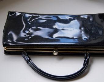 Vintage Black Patent Handbag, 1960's Theodor of California