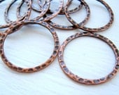 Hammered Copper Rings 30mm Hoops Circles Round Textured Metal Antique Plated Links Findings wholesale jewelry supplies CrazyCoolStuff