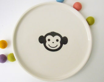 Kids Handmade Ceramic Plate - Monkey