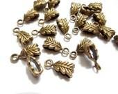 10 Antique Bronze Leaf Bails - 16-BB-6