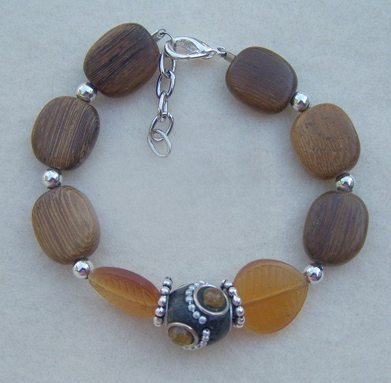 Wood leaf plus size bracelet by paperandbeadsbyangie on etsy for Plus size jewelry bracelets