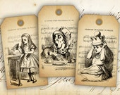 Alice in Wonderland Printable Gift Tags on Digital Collage Sheet best for paper craft, party decor, scrapbook - VINTAGE ALICE TAGS